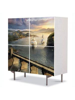 Comoda cu 4 Usi Art Work Peisaje Corabii, 84 x 84 cm