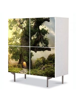 Comoda cu 4 Usi Art Work Peisaje Casa in copac, 84 x 84 cm