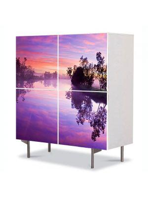 Comoda cu 4 Usi Art Work Peisaje Lacul violet, 84 x 84 cm