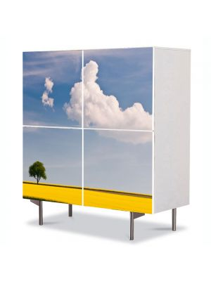 Comoda cu 4 Usi Art Work Peisaje Linie galbena, 84 x 84 cm