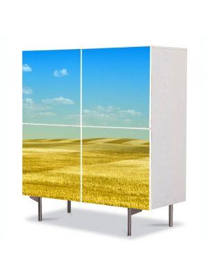 Comoda cu 4 Usi Art Work Peisaje Peisaj galben, 84 x 84 cm