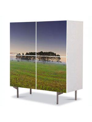 Comoda cu 4 Usi Art Work Peisaje Palc de copaci, 84 x 84 cm
