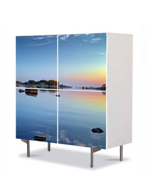Comoda cu 4 Usi Art Work Peisaje Stanci pe lac, 84 x 84 cm