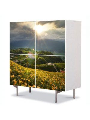 Comoda cu 4 Usi Art Work Peisaje Floricele pe campii, 84 x 84 cm
