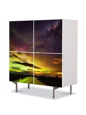 Comoda cu 4 Usi Art Work Peisaje Apus in nord, 84 x 84 cm