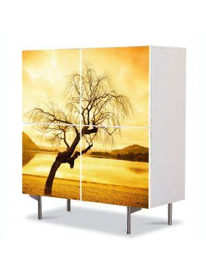 Comoda cu 4 Usi Art Work Peisaje Peisaj galbui, 84 x 84 cm