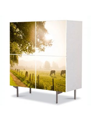 Comoda cu 4 Usi Art Work Peisaje La pascut, 84 x 84 cm