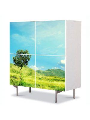 Comoda cu 4 Usi Art Work Peisaje Totul este verde, 84 x 84 cm