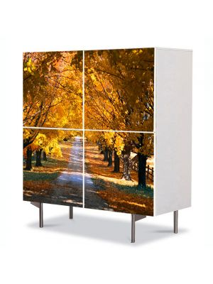 Comoda cu 4 Usi Art Work Peisaje Sosea in valuri, 84 x 84 cm