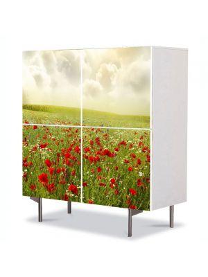 Comoda cu 4 Usi Art Work Peisaje Maci superbi, 84 x 84 cm