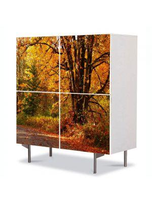 Comoda cu 4 Usi Art Work Peisaje Amestec de culori de toamna, 84 x 84 cm