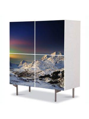 Comoda cu 4 Usi Art Work Peisaje Suedia, 84 x 84 cm