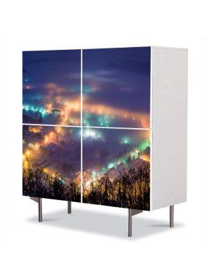 Comoda cu 4 Usi Art Work Peisaje Oras noaptea, 84 x 84 cm