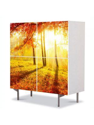 Comoda cu 4 Usi Art Work Peisaje Portocaliu aprins, 84 x 84 cm