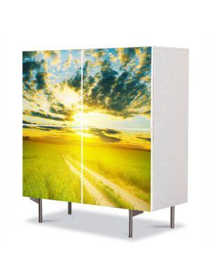 Comoda cu 4 Usi Art Work Peisaje Apus peste drum, 84 x 84 cm