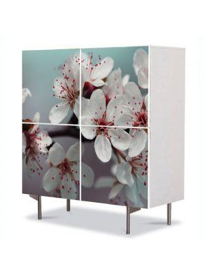 Comoda cu 4 Usi Art Work Peisaje Flori albe, 84 x 84 cm