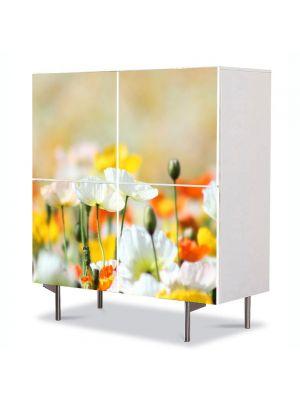 Comoda cu 4 Usi Art Work Peisaje Inghesuiala de culori, 84 x 84 cm