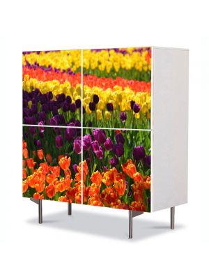 Comoda cu 4 Usi Art Work Peisaje Macro Olanda, 84 x 84 cm