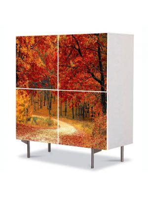Comoda cu 4 Usi Art Work Peisaje Drum in padure toamna, 84 x 84 cm