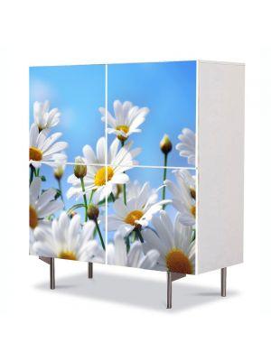 Comoda cu 4 Usi Art Work Peisaje Flori albe pe cer, 84 x 84 cm