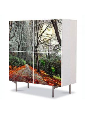 Comoda cu 4 Usi Art Work Peisaje Drum rosu, 84 x 84 cm