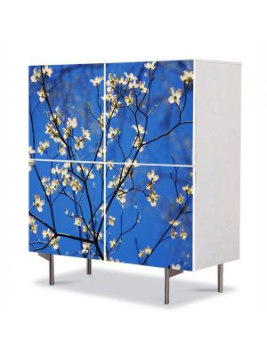 Comoda cu 4 Usi Art Work Peisaje Flori cu albastru intens, 84 x 84 cm