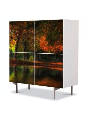 Comoda cu 4 Usi Art Work Peisaje Toamna noaptea, 84 x 84 cm