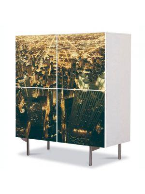 Comoda cu 4 Usi Art Work Urban Orase Lumini in Chicago, 84 x 84 cm