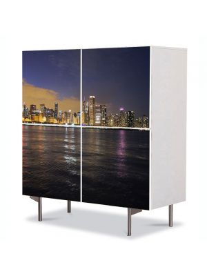 Comoda cu 4 Usi Art Work Urban Orase Chicago, 84 x 84 cm