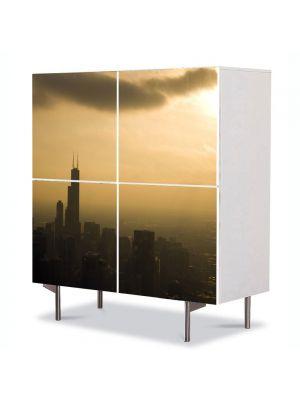 Comoda cu 4 Usi Art Work Urban Orase Chicago la apus, 84 x 84 cm