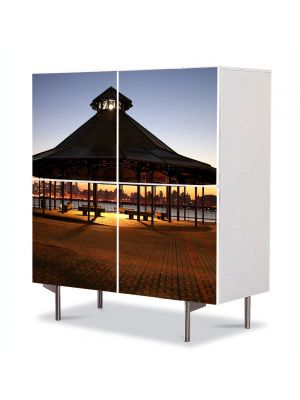 Comoda cu 4 Usi Art Work Urban Orase Foisor si Apus, 84 x 84 cm
