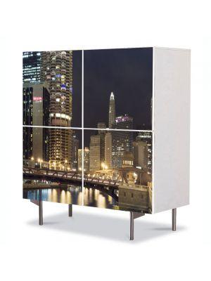 Comoda cu 4 Usi Art Work Urban Orase Chicago, 84 x 84 cm