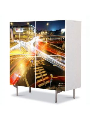 Comoda cu 4 Usi Art Work Urban Orase Intersectie urbana, 84 x 84 cm