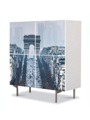 Comoda cu 4 Usi Art Work Urban Orase Arcul de Triumf Paris Franta, 84 x 84 cm