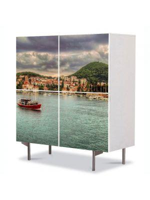 Comoda cu 4 Usi Art Work Urban Orase Coasta Croatiei, 84 x 84 cm