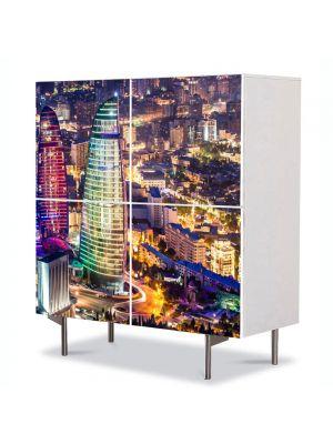 Comoda cu 4 Usi Art Work Urban Orase Azerbaijan noaptea, 84 x 84 cm