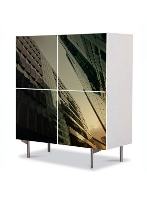 Comoda cu 4 Usi Art Work Urban Orase Cladire de geamuri, 84 x 84 cm