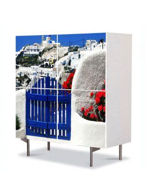 Comoda cu 4 Usi Art Work Urban Orase In Grecia, 84 x 84 cm