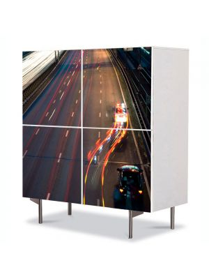 Comoda cu 4 Usi Art Work Urban Orase Orasul noaptea, 84 x 84 cm