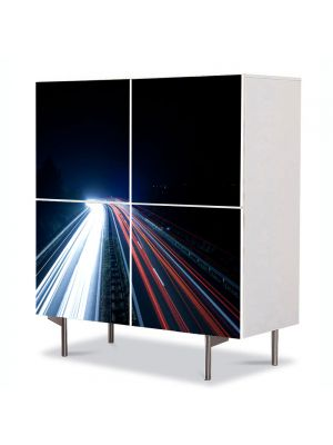 Comoda cu 4 Usi Art Work Urban Orase Lumini pe autostrada, 84 x 84 cm