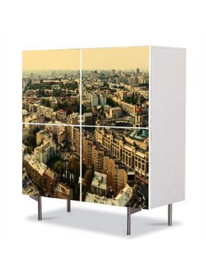 Comoda cu 4 Usi Art Work Urban Orase Panaroma a Kiev ului, 84 x 84 cm