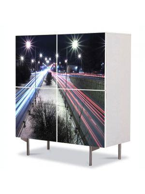 Comoda cu 4 Usi Art Work Urban Orase Sosea in oras, 84 x 84 cm