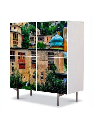 Comoda cu 4 Usi Art Work Urban Orase Pictura urbana, 84 x 84 cm