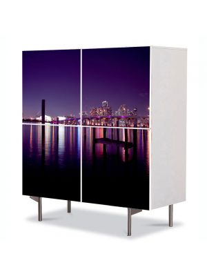 Comoda cu 4 Usi Art Work Urban Orase Miami USA, 84 x 84 cm