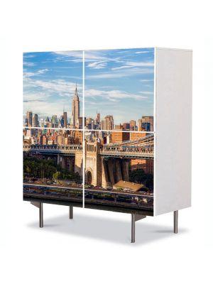 Comoda cu 4 Usi Art Work Urban Orase Centrul New York ului, 84 x 84 cm