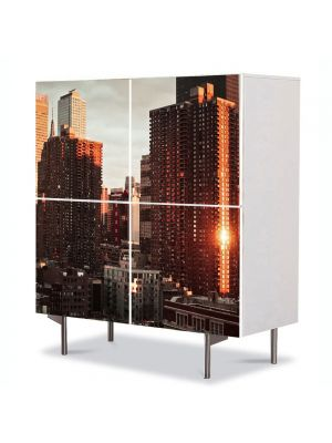 Comoda cu 4 Usi Art Work Urban Orase Cel mai frumos oras din lume, 84 x 84 cm