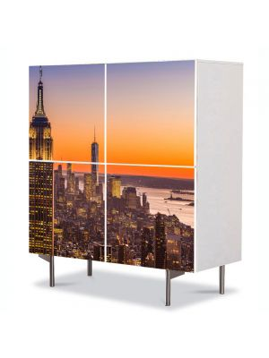 Comoda cu 4 Usi Art Work Urban Orase Plutind peste New York, 84 x 84 cm
