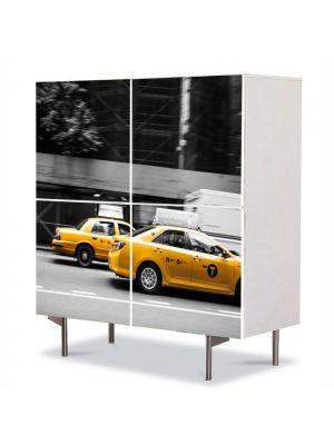 Comoda cu 4 Usi Art Work Urban Orase Taxi in New York, 84 x 84 cm