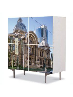 Comoda cu 4 Usi Art Work Urban Orase Palatul Casei de Depuneri, Consemna?iuni ?i Economie Bucuresti, 84 x 84 cm