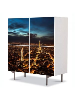 Comoda cu 4 Usi Art Work Urban Orase Luminile noptii in Paris, 84 x 84 cm